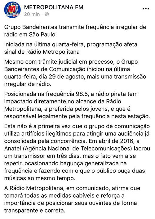 Metropolitana FM emite comunicado sobre interferências em seu sinal em São Paulo